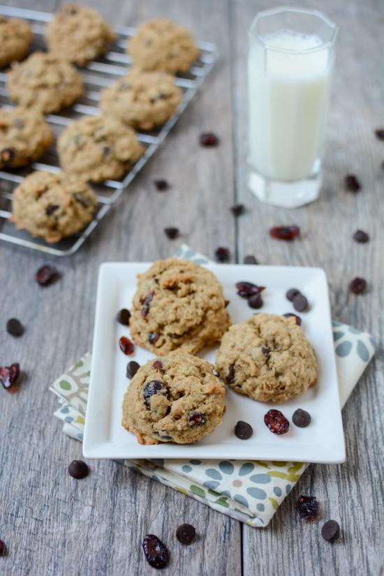 Fluffy and chewy, this Cranberry Oatmeal Chocolate Chip Cookies are full of delicious mix-ins and can be whipped up quickly when a dessert craving strikes!