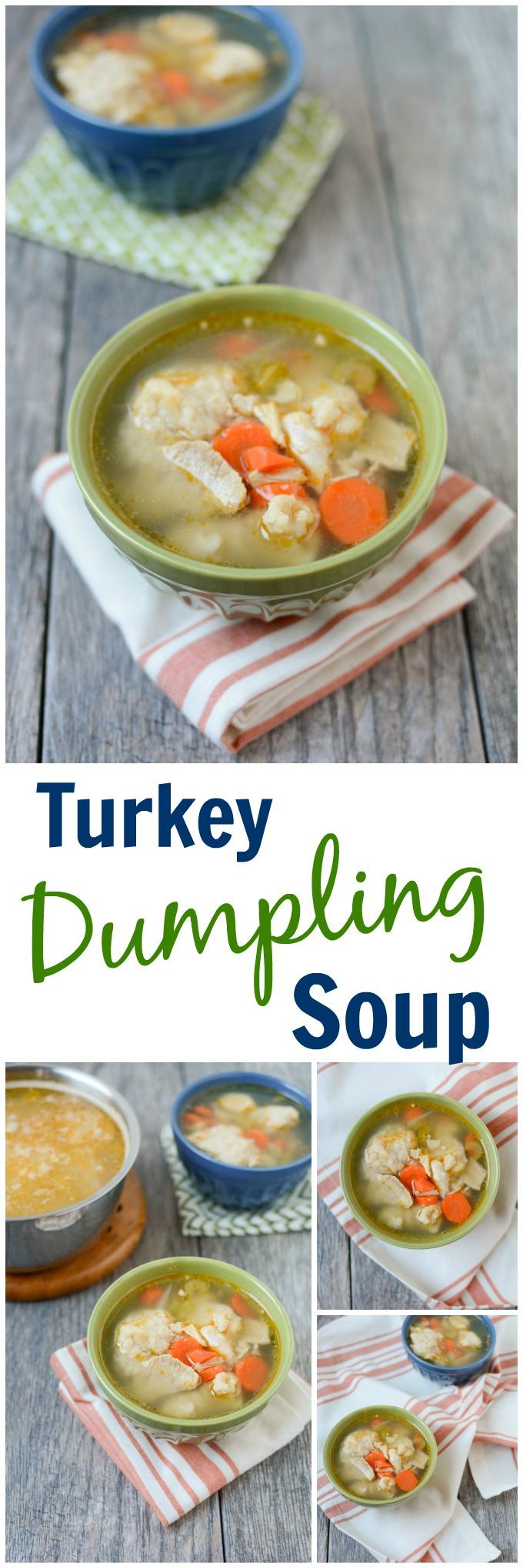 This Turkey Dumpling Soup is the perfect day after Thanksgiving meal. Use your turkey bones to make homemade broth, then add veggies, leftover turkey and dumplings for a warm, hearty meal!