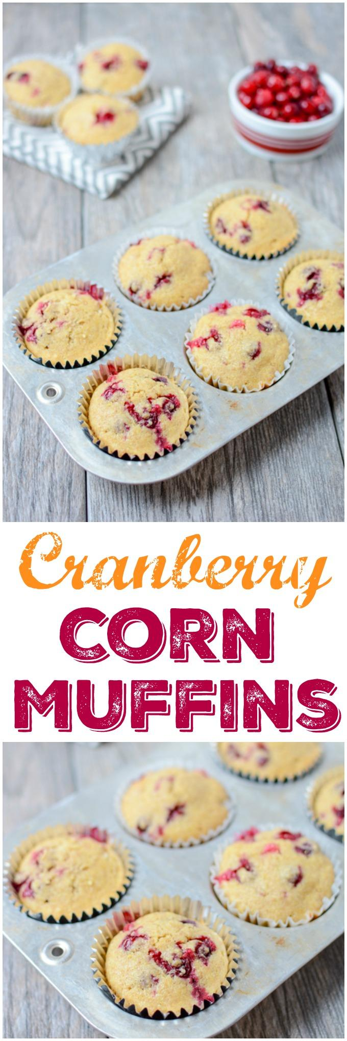 These Cranberry Corn Muffins are lightly sweetened and bursting with tart fresh cranberries. They make the perfect dinner side dish. Serve them with a hearty chili or make a batch for your holiday dinner.