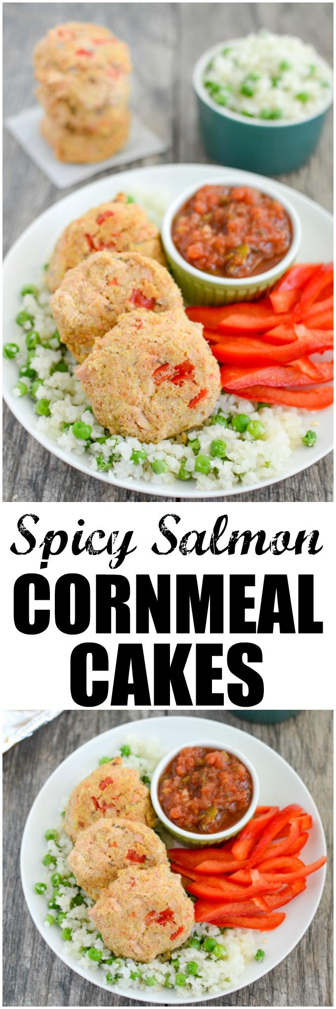 These Spicy Salmon Cornmeal Cakes are made with just a few simple ingredients and are great for a quick, healthy dinner. Enjoy the leftovers over a salad for lunch!