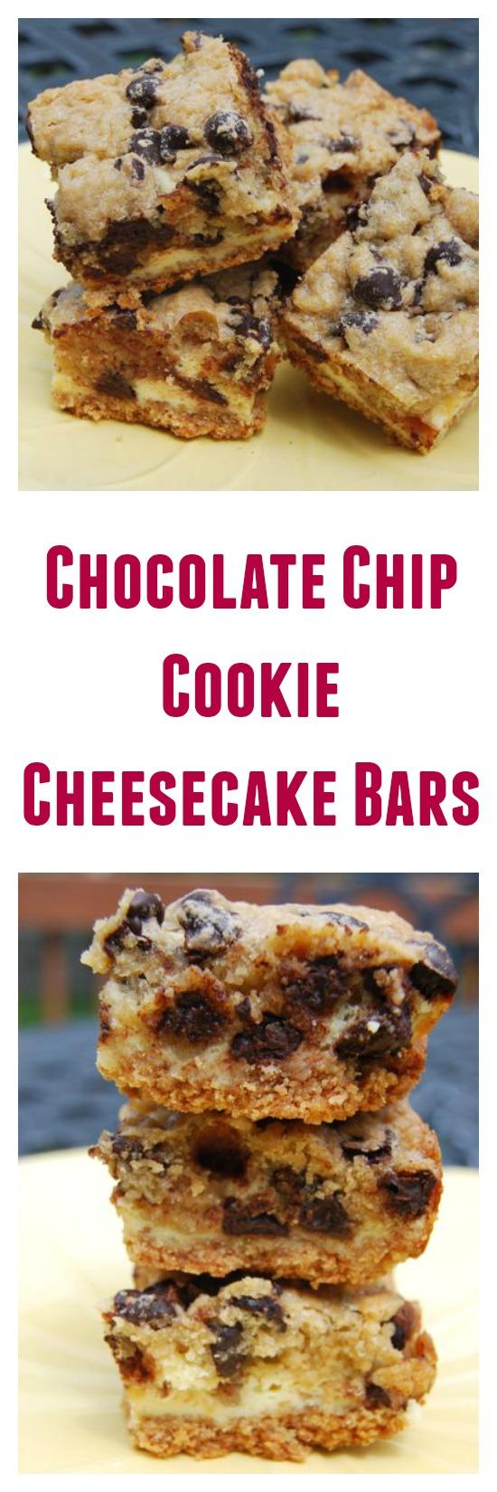 A cross between a chocolate chip cookie and a cheesecake, these dessert bars are sure to be a hit!