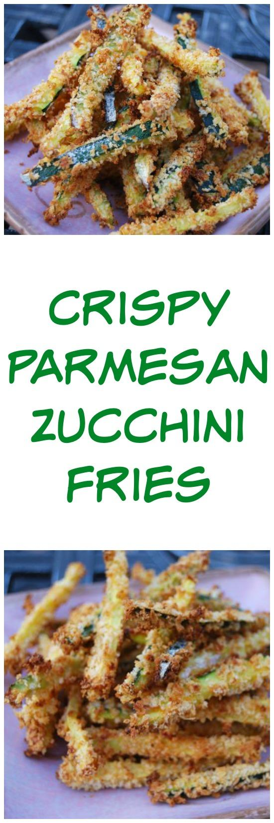 These Crispy Parmesan Zucchini Fries make the perfect dinner side dish and taste great when served with a side of marinara sauce for dipping!