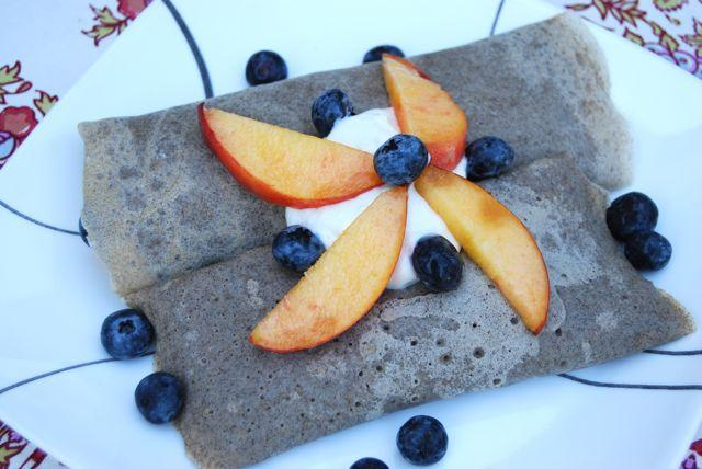 These Buckwheat Crepes are easy to make at home and can be filled with anything you'd like! Try yogurt and fresh fruit or peanut butter and chocolate chips to start!