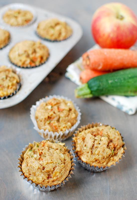 Packed with fruits and vegetables, this recipe for Zucchini Carrot Apple Muffins makes the perfect healthy snack!