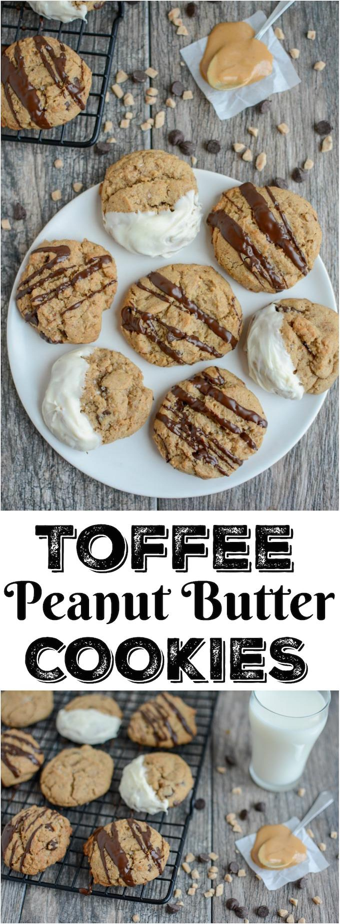 These Toffee Peanut Butter Chocolate Chip Cookies can be enjoyed plain or drizzle with chocolate. They're the perfect addition to a party or a Christmas dessert tray.