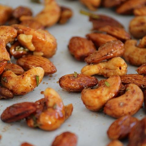These Rosemary Chipotle Spiced Nuts are full of flavor and make a great party snack!