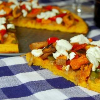 Caramelized Onion & Goat Cheese Pizza with Sweet Potato Socca Crust