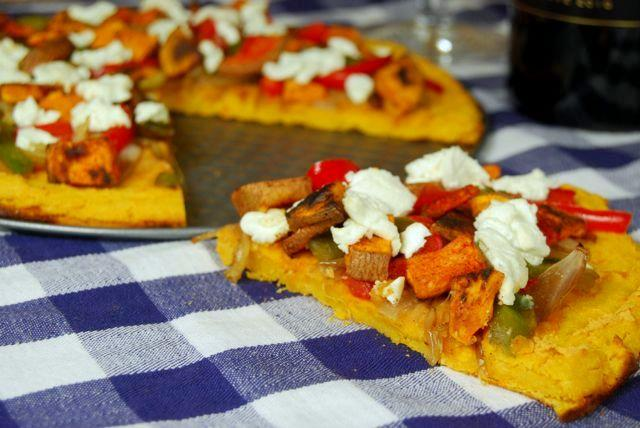 This Sweet Potato Socca Crust is gluten-free and the perfect base for this Caramelized Onion and Goat Cheese Pizza!