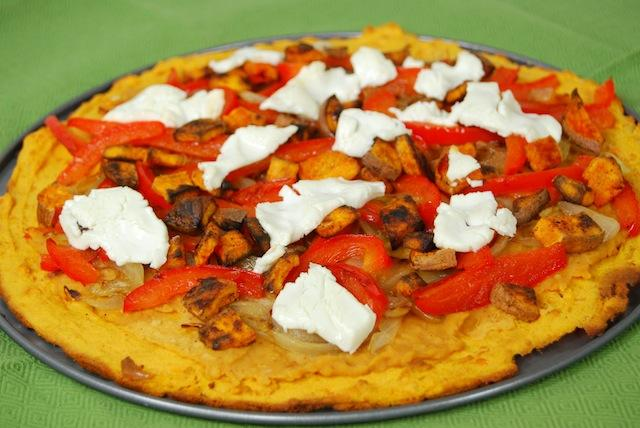 pizza4 Caramelized Onion & Goat Cheese Pizza with Sweet Potato Socca Crust