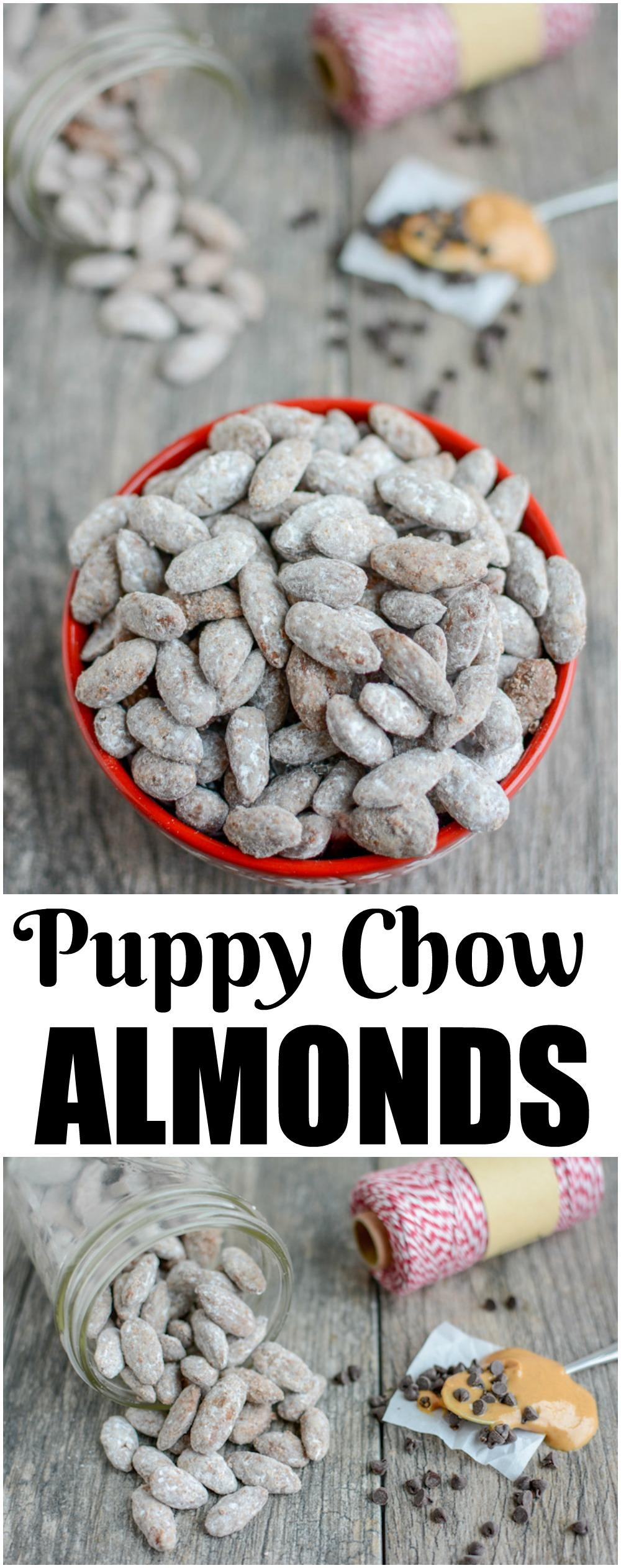 These Puppy Chow Almonds are a fun twist on a classic treat. The nuts add an extra boost of protein and healthy fats, making it perfect for a special snack or dessert!