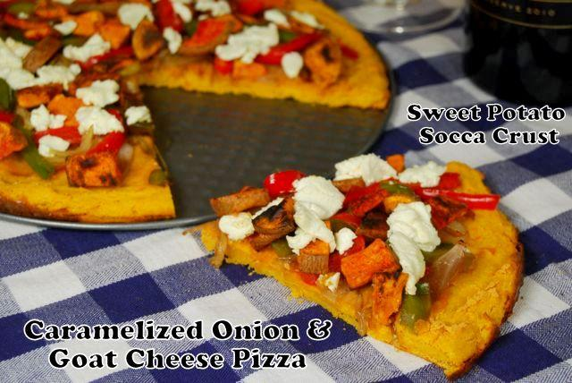words Caramelized Onion & Goat Cheese Pizza with Sweet Potato Socca Crust