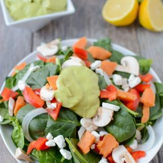 Thick, creamy and full of flavor, this Ginger Citrus Avocado Dressing recipe will take your salad to the next level. It's gluten-free, vegan, paleo and ready in minutes!