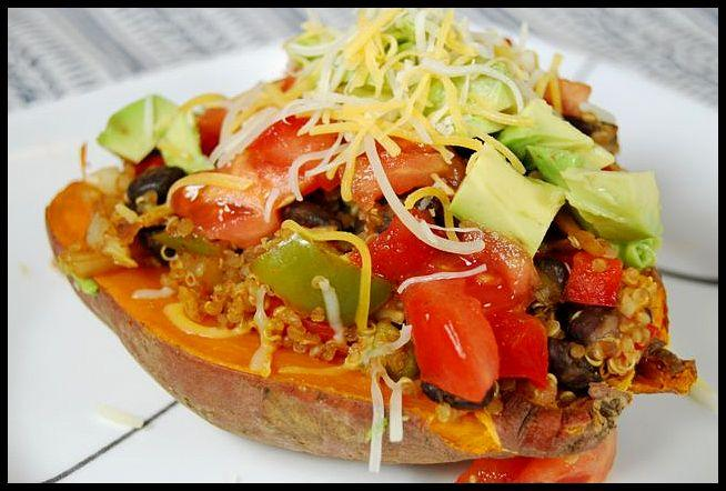 Mexican loaded sweet potato recipe vegetarian recipes a easy weeknight dinner these vegetarian mexican loaded sweet potatoes come together quickly and are forumfinder Gallery