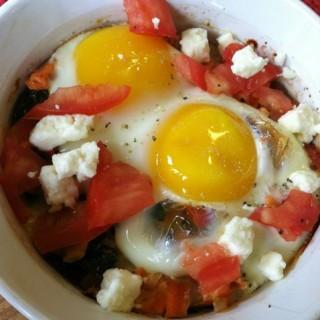 Greek Baked Eggs & Salmon