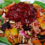 Salmon Farro Salad with BBQ Cranberry Dressing