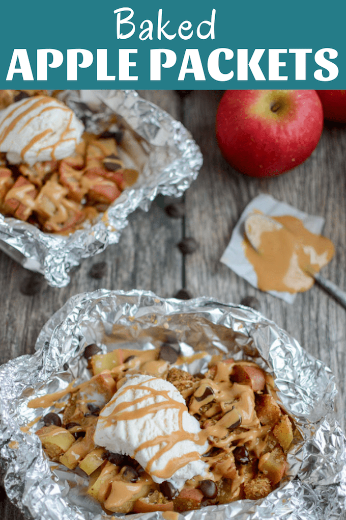 These Baked Apple Packets are a super simple fall recipe. Enjoy them with ice cream for dessert or top with yogurt for breakfast or an afternoon snack. The perfect way to end a day of apple picking.