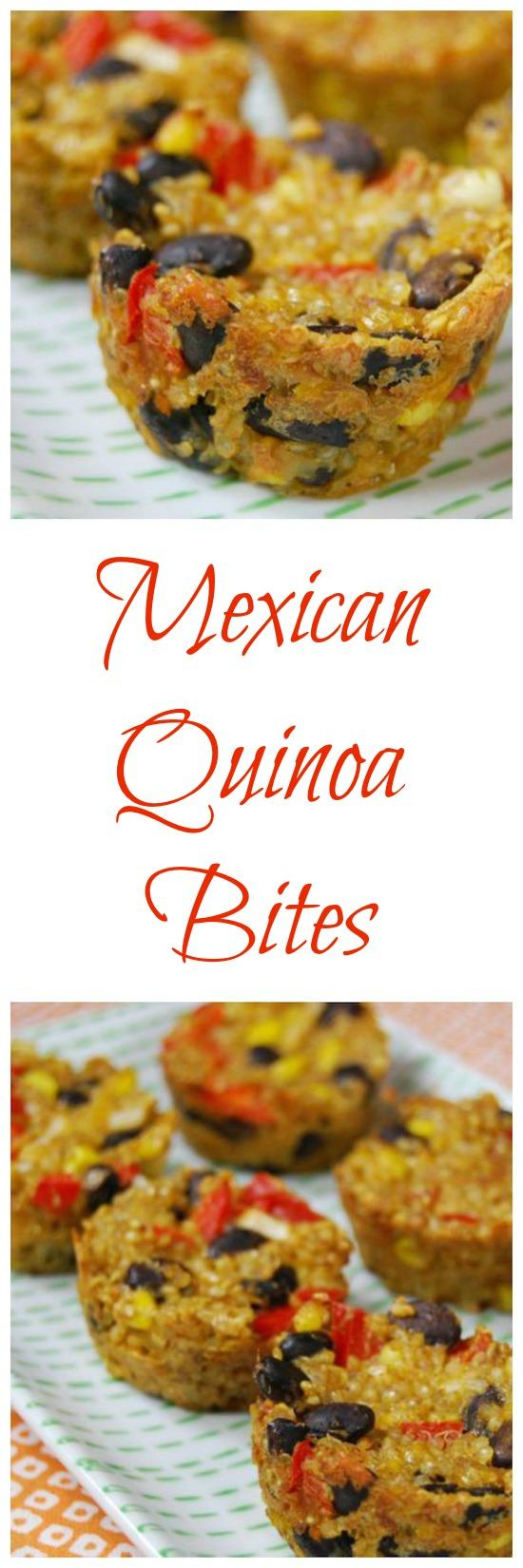 These Mexican Quinoa Bites make a great appetizer and can also be eaten as a main meal. They're vegetarian,  packed with protein and fiber and taste great with a variety of dipping sauces!