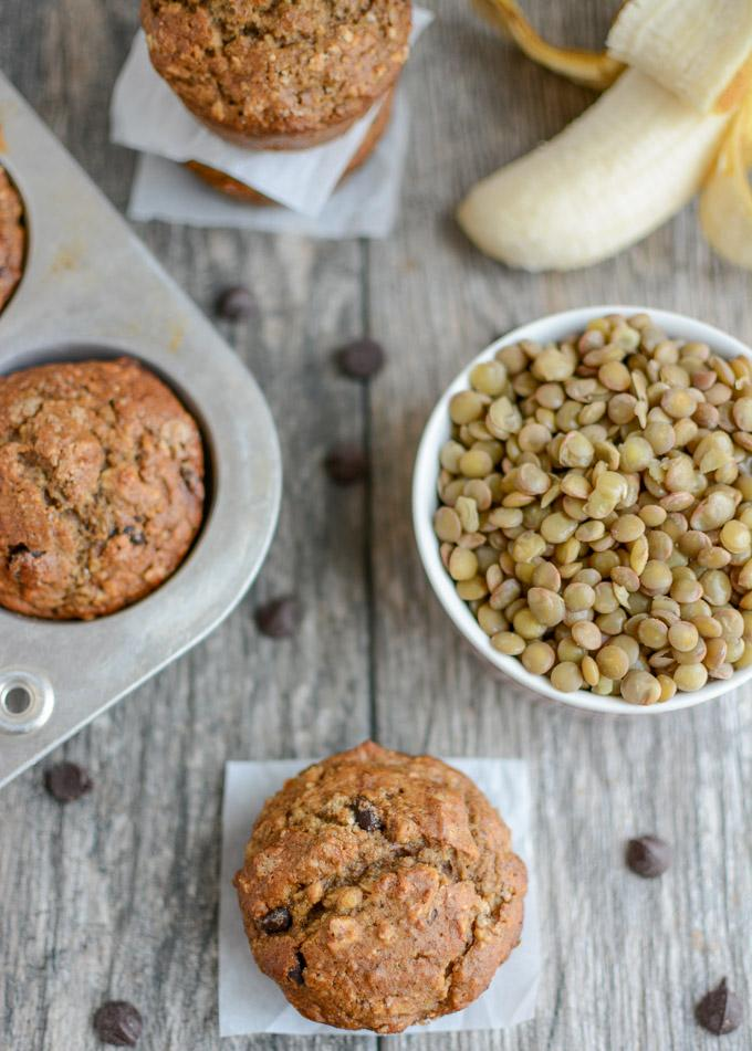 Banana muffins made with lentils