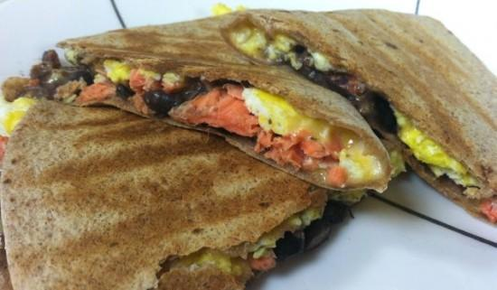 Change up your breakfast routine and try this breakfast quesadilla packed with salmon, black beans and eggs!