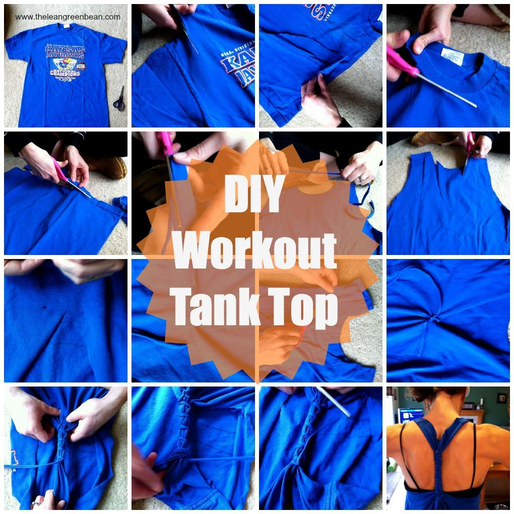 This easy tutorial shows you how to turn an old t shirt into a cute DIY Workout Tank Top!