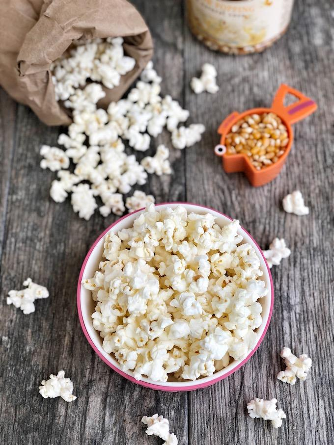 Healthy Microwave Popcorn in a paper lunch sack
