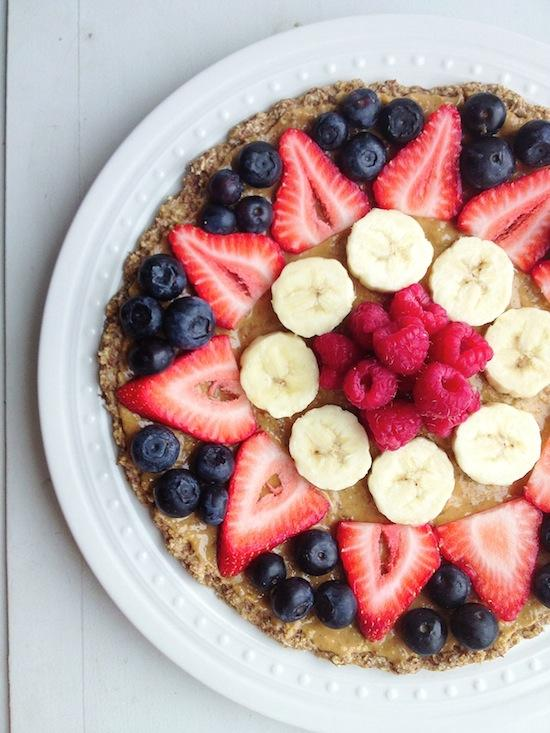 Fruit pizza with oatmeal flax crust by Lean Green Bean