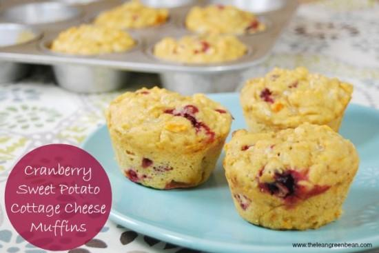 cranberry sweet potato cottage cheese muffins