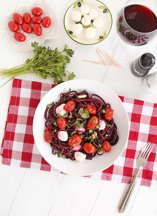 winter caprese with beet noodles Winter Caprese Beet Noodle Pasta