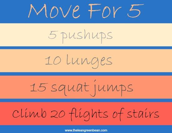 Do you find yourself sitting too much during the day? Set a goal to get up and move for 5 minutes every hour. Click for several 5 minute workouts that can be done at work or home!