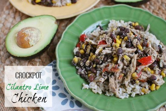 Add this Crockpot Cilantro Lime Chicken to the menu for your next Mexican night. Or, put the ingredients in a ziploc bag and stick it in the freezer. During a busy week just dump it in the slow cooker and have dinner waiting when you get home!