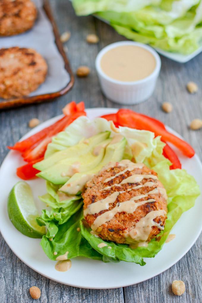 Thai Peanut Salmon Burgers