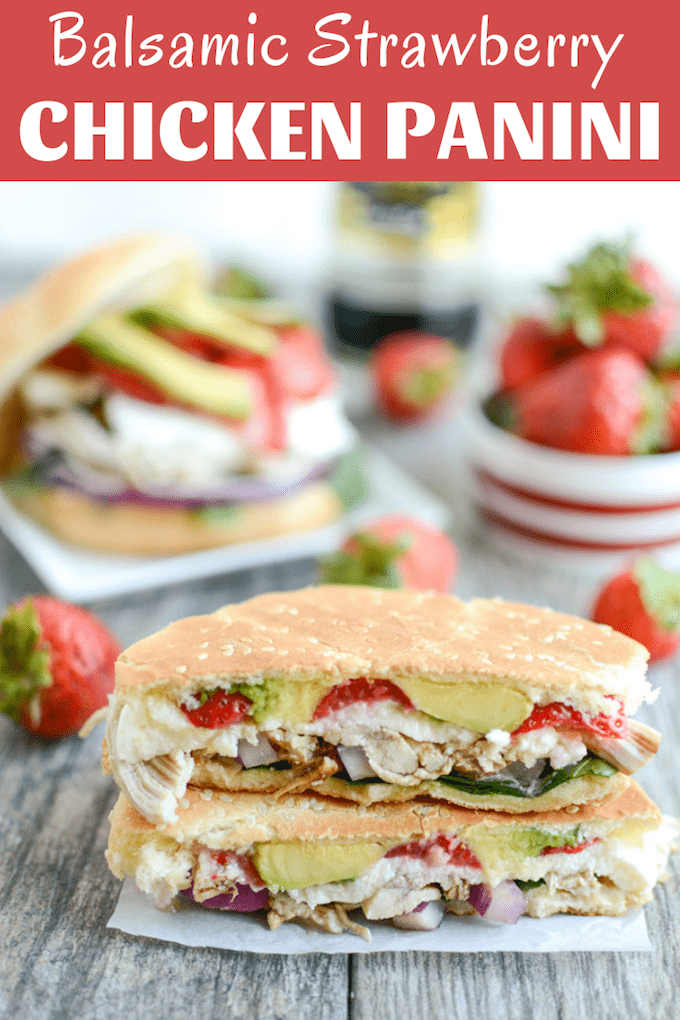This Balsamic Chicken & Strawberry Panini strikes the perfect balance of flavors for a quick and easy summer lunch! A great way to transform leftover chicken into a new meal!