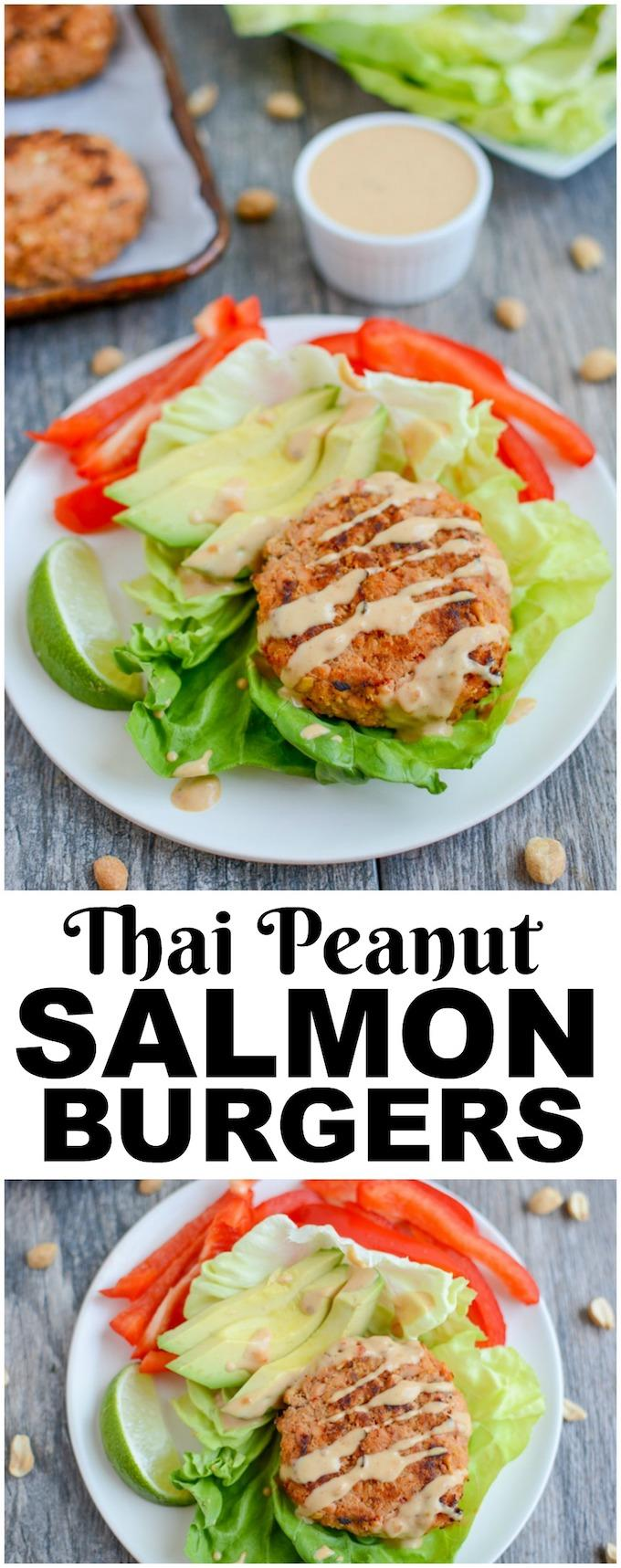 These Thai Peanut Salmon Burgers are a fun change from a traditional meat-based burgers. They're full of flavor or great on a bun, in a lettuce wrap or on a salad.
