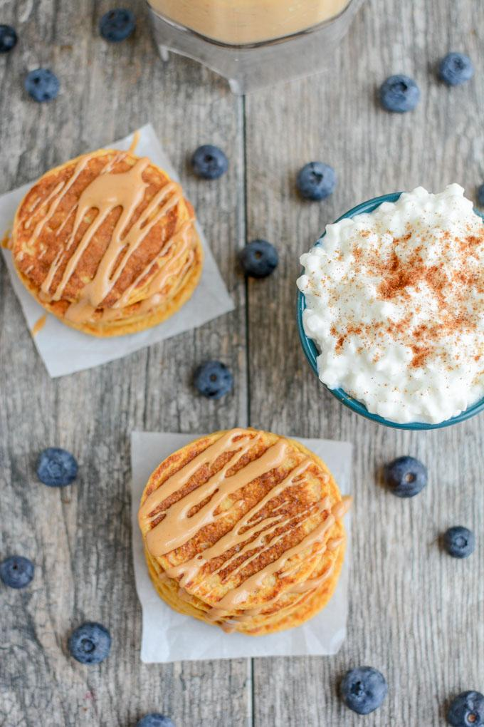 These Sweet Potato Protein Pancakes are made in a blender with protein-rich ingredients like cottage cheese and eggs. No protein powder required and they make a great breakfast or post workout snack.