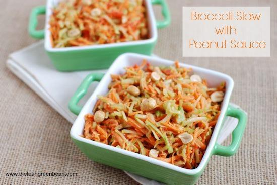Don't throw away those broccoli stems! Turn them into slaw and top with a peanut dressing!