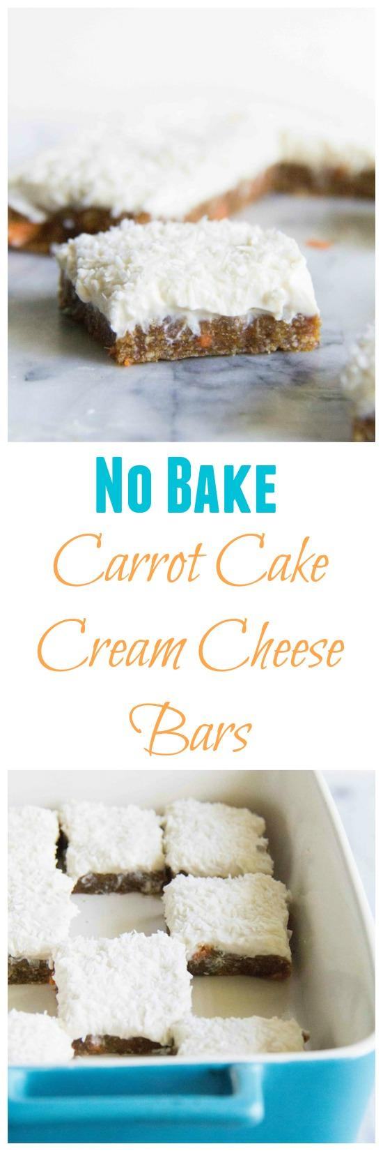 These No Bake Carrot Cake Cream Cheese Bars are the perfect spring dessert!