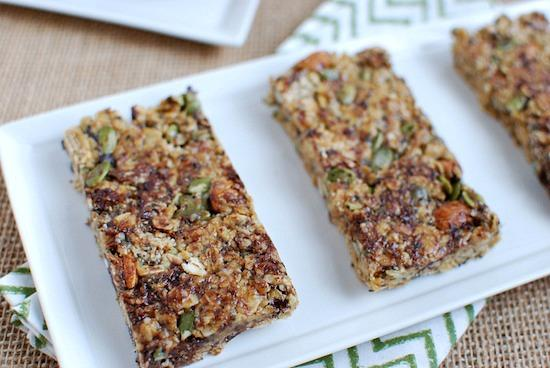 These No Bake Granola Bars are healthy afternoon snack. Full of nuts and seeds they're kid friendly and perfect for an on the go snack!
