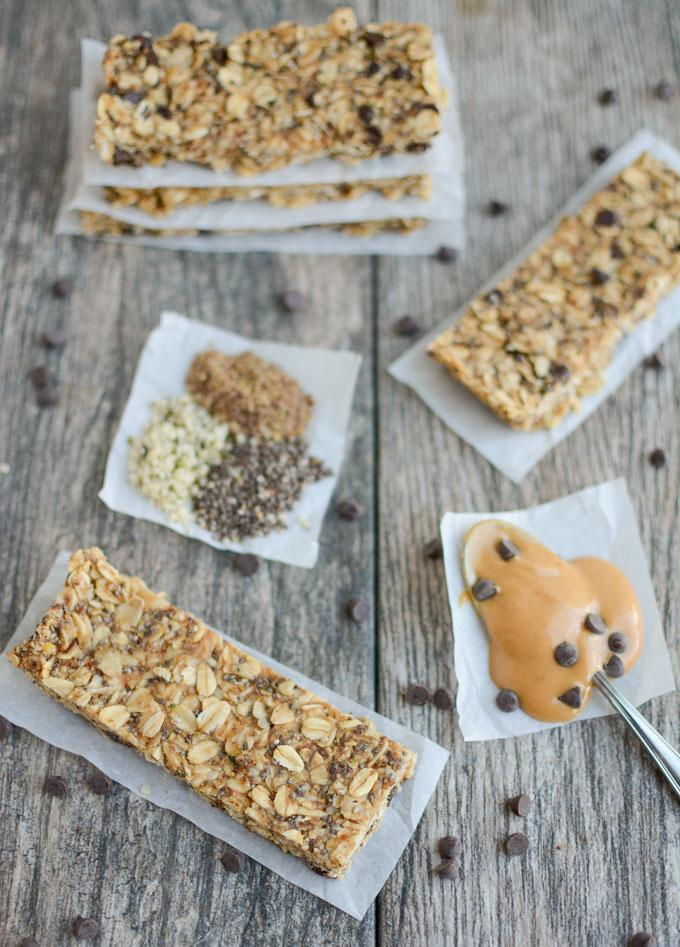 No Bake Granola Bars made with chia, flax and hemp seeds