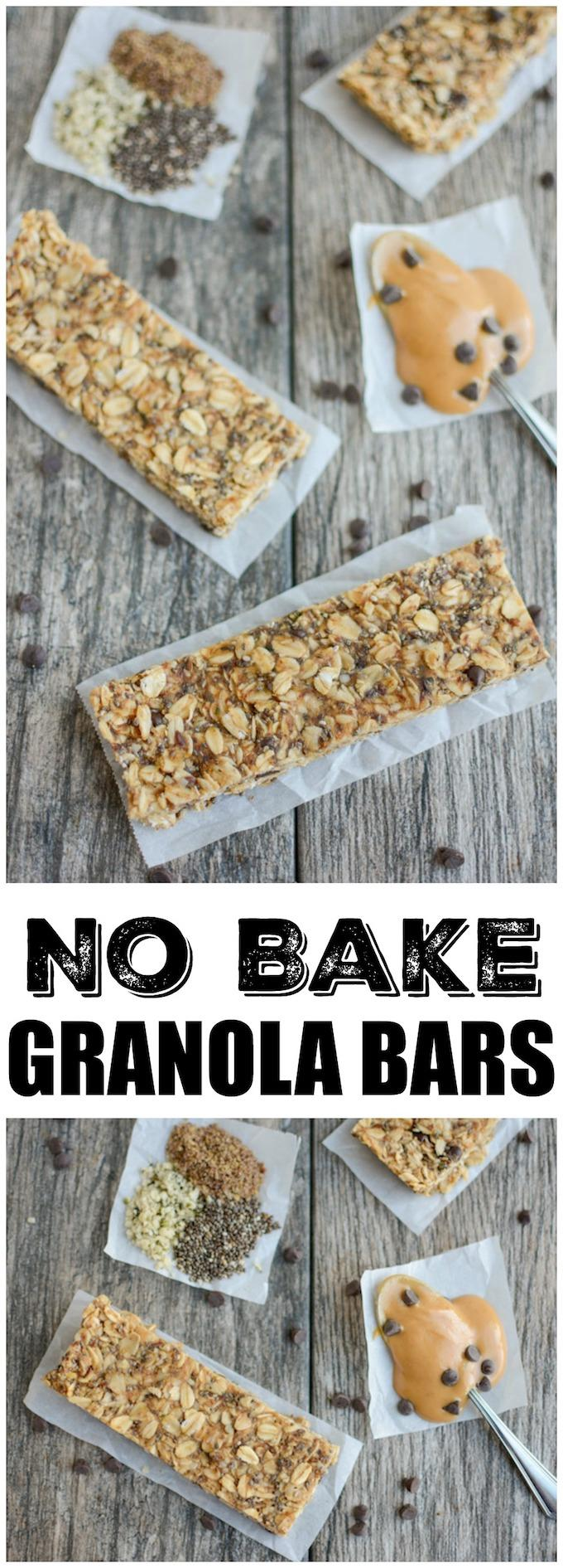 These No-Bake Granola Bars are lightly sweetened with honey and packed with chia, flax and hemp seeds. Full of fiber, protein, and healthy fats, they make a healthy, kid-friendly afternoon snack!