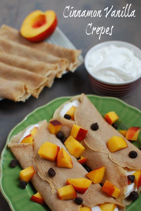 These Cinnamon Vanilla Crepes are the perfect vehicle for yogurt and fresh fruit for a well-balanced breakfast! Or try them with nut butter for a quick energy boost.