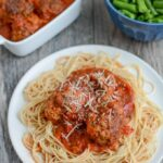 These Crockpot meatballs can be made in the slow cooker or Instant Pot for an easy, healthy dinner. Serve them over noodles, on a sub bun or enjoy them plain!