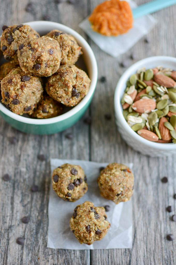 Pumpkin Energy Balls made with dates, almonds and pepitas