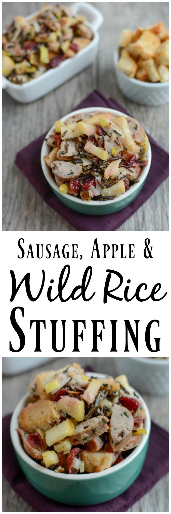 This Sausage and Wild Rice Stuffing is hearty enough for a meal but also makes a delicious side dish for Thanksgiving or Christmas.