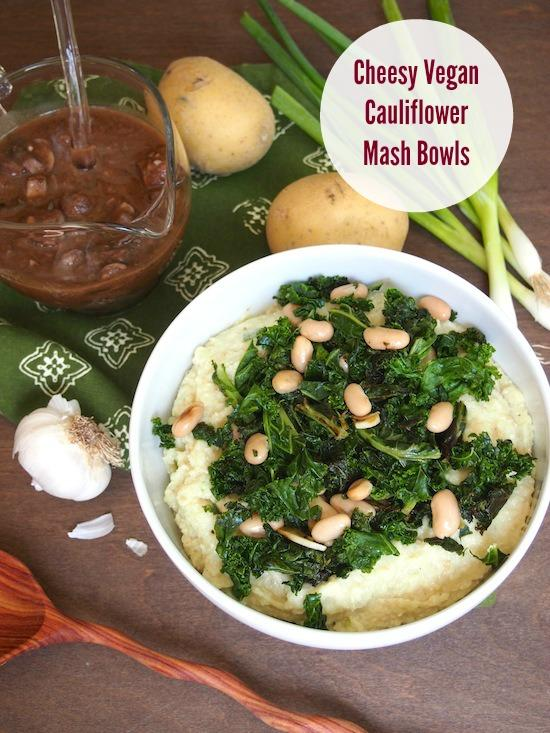 These Cheesy Vegan Cauliflower Mash Bowls are perfect for Meatless Monday and full of vegetarian protein to keep you full all night.
