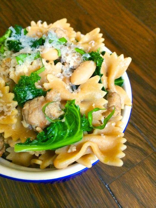 bowtie pasta with sausage and kale