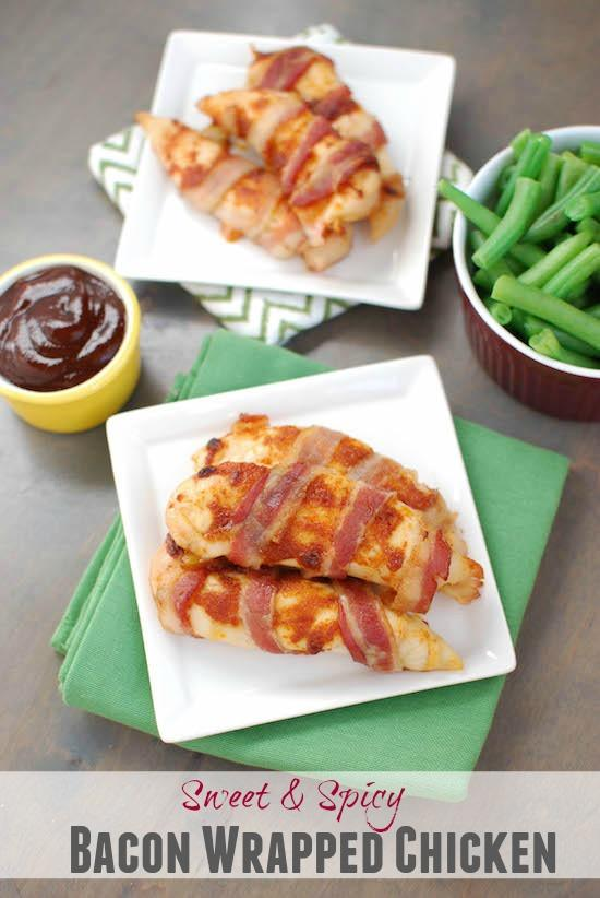 This Sweet & Spicy Bacon Wrapped Chicken is an easy way to break out of the boring chicken dinner rut!