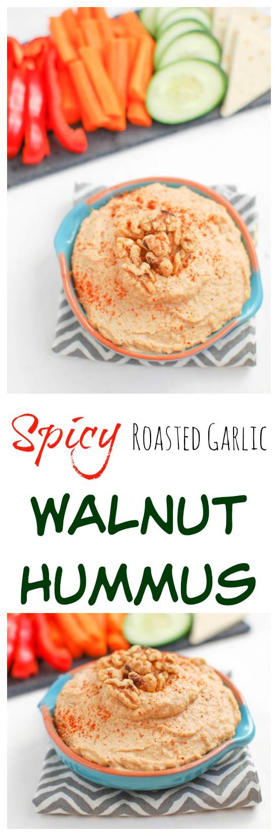 This Spicy Roasted Garlic Walnut Hummus is heart-healthy and packed with flavor. Makes the perfect snack or appetizer!