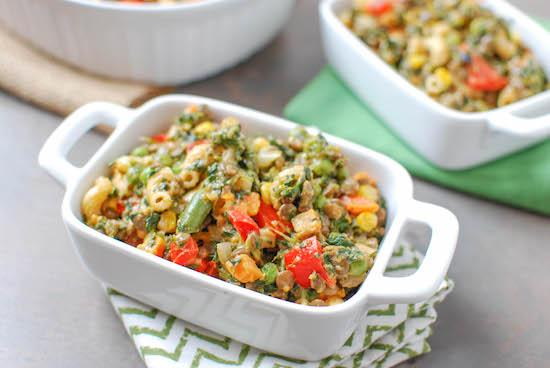 A childhood favorite kicked up a notch! This Lentil Macaroni and Cheese is packed with vegetables and lentils for a hearty vegetarian meal.