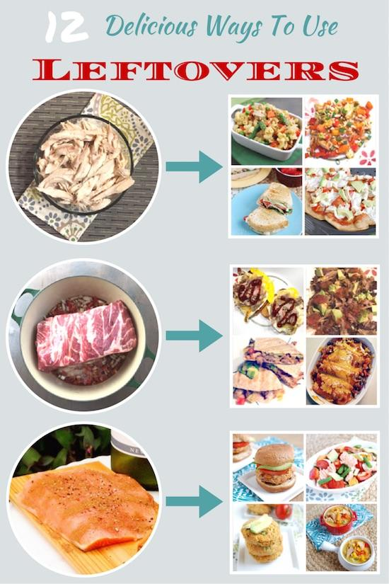Looking for some ways to use leftovers? Here are 12 ideas for repurposing leftover chicken, pork and salmon!