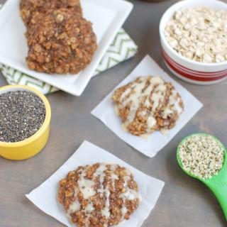 Gluten-free and lightly sweetened with maple syrup, these Almond Butter Banana Cookies are packed with protein and fiber and are healthy enough for breakfast. Add a little glaze and you've got dessert!